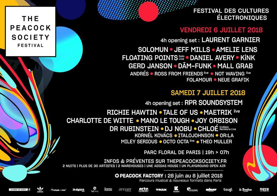 La programmation de la 6e édition du festival de la Peacock Society, du 6 au 8 juillet prochain, au parc floral du bois de Vincennes (Paris, 12e arrondissement).