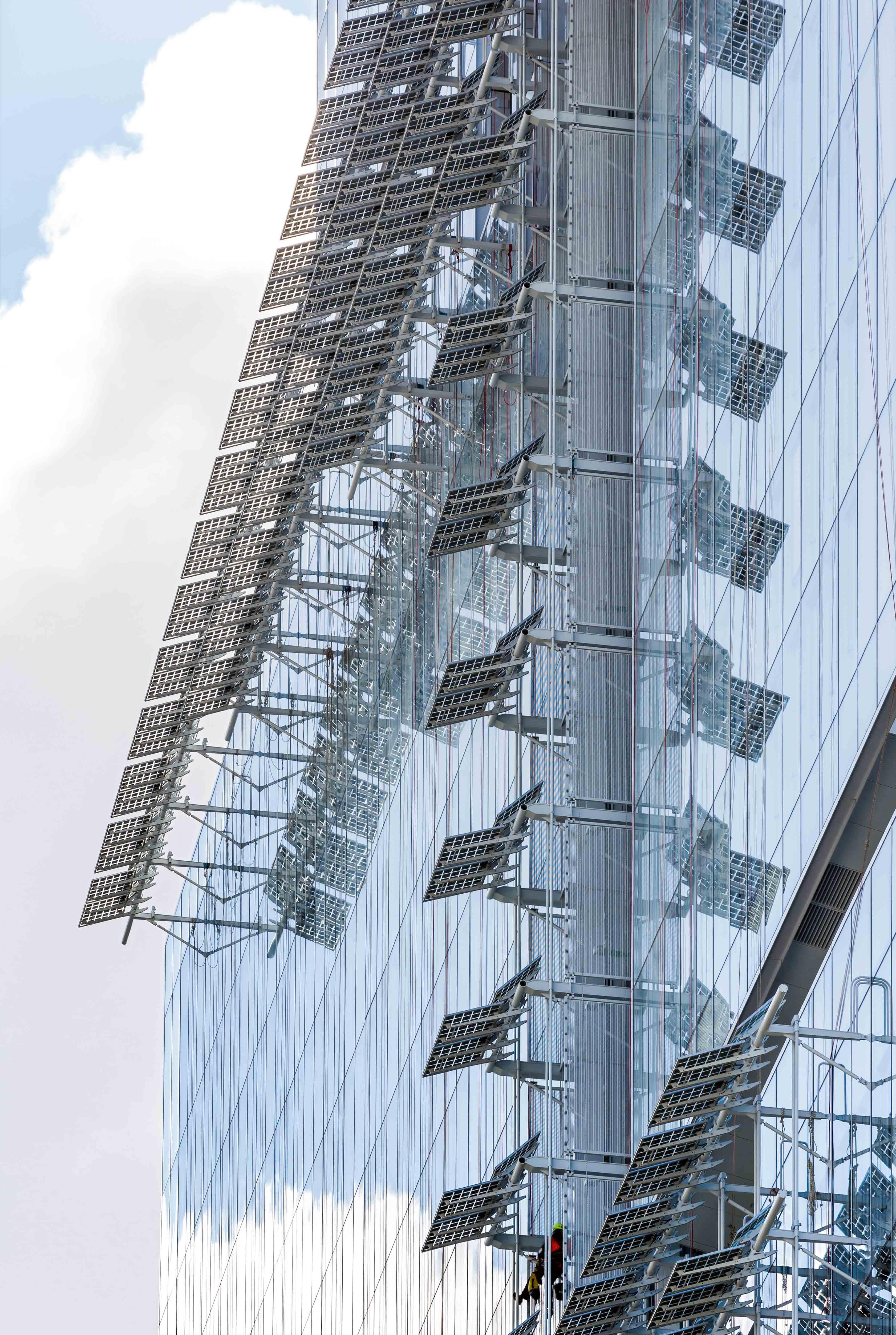 Détail de la façade du nouveau Palais de justice de Paris.