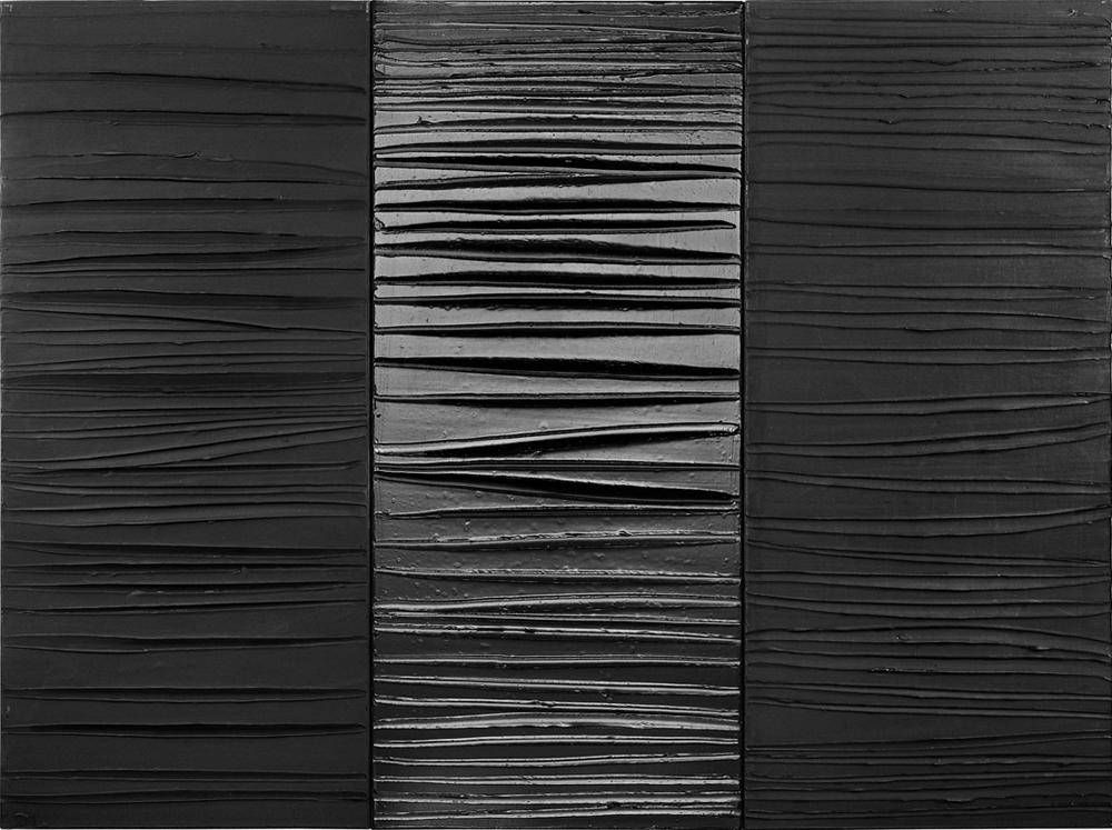 """Pierre Soulages """"Peinture 181x244, 25 février 2009, triptyque acrylique sur toile"""""""