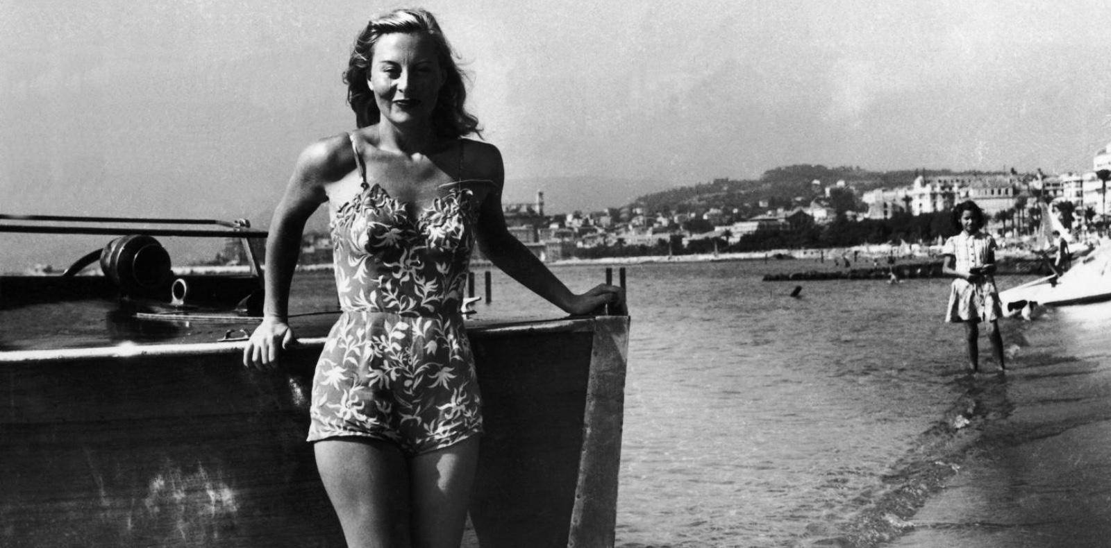 L'actrice Michelle Morgan lors de la première édition du Festival de Cannes en 1946.