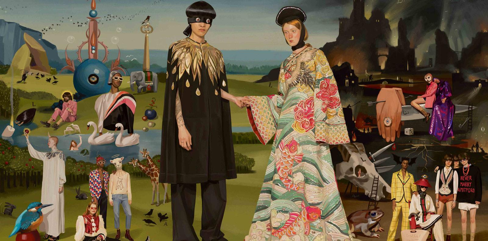Illustration digitale réalisées autour de la collection printemps-été 2018 de Gucci par le jeune artiste espagnol Ignasi Monreal.