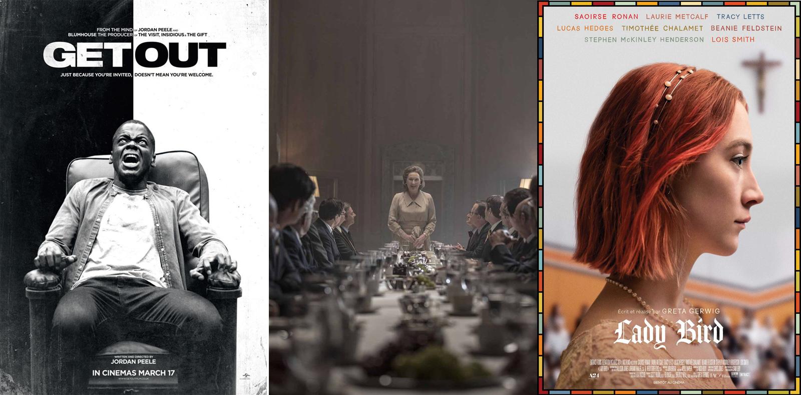 """Get Out"" de Jordan Peele, ""The Post"" de Steven Spielberg et ""Lady Bird"" de Greta Gerwig."