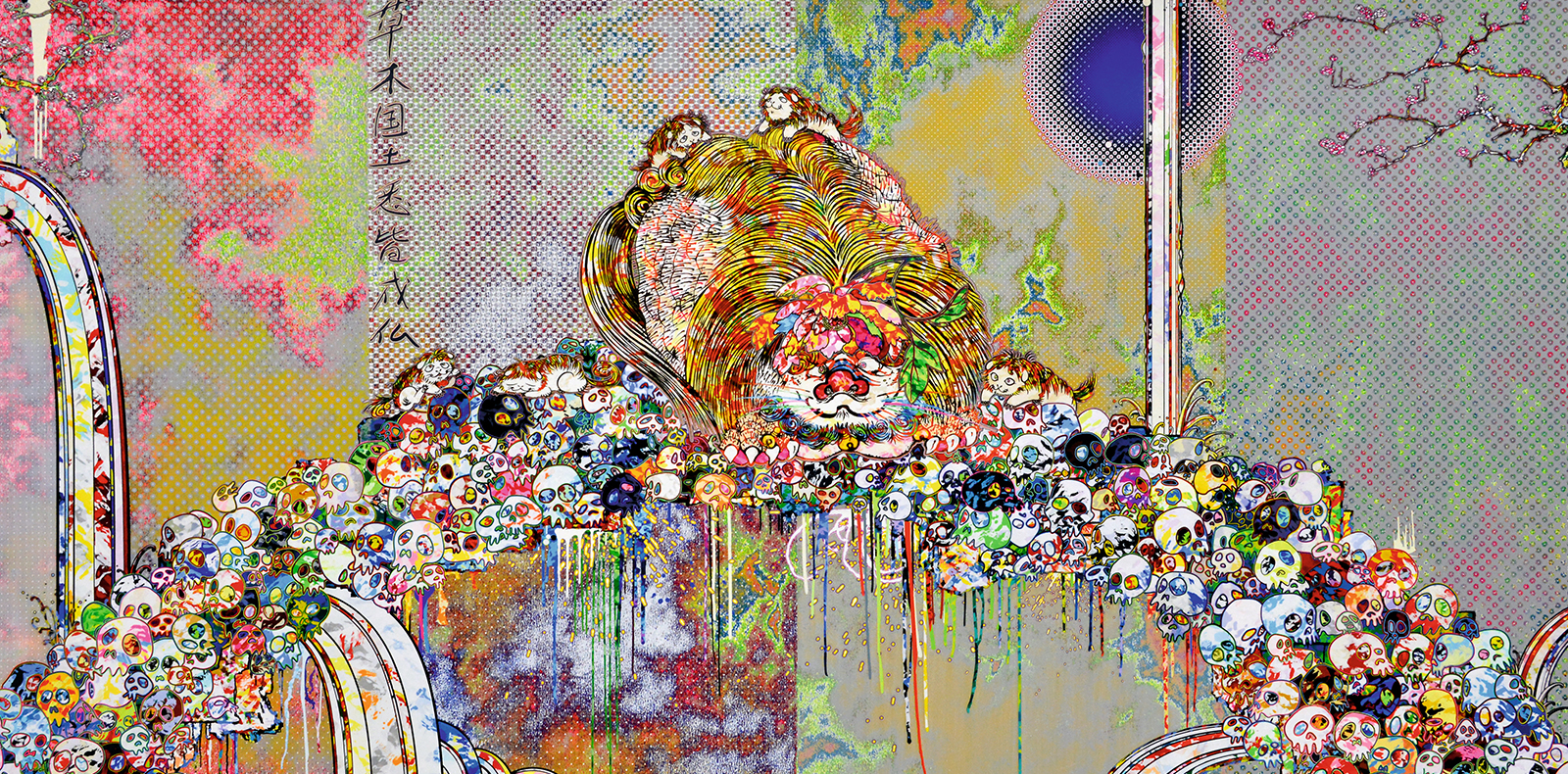 """""""The Lion of the Kingdom that Transcends Death"""" (2018) de Takashi Murakami. Acrylique sur toile montée sur panneau d'aluminium, 150 x 300 cm. À découvrir chez Gagosian Hong Kong dès le 20 septembre."""