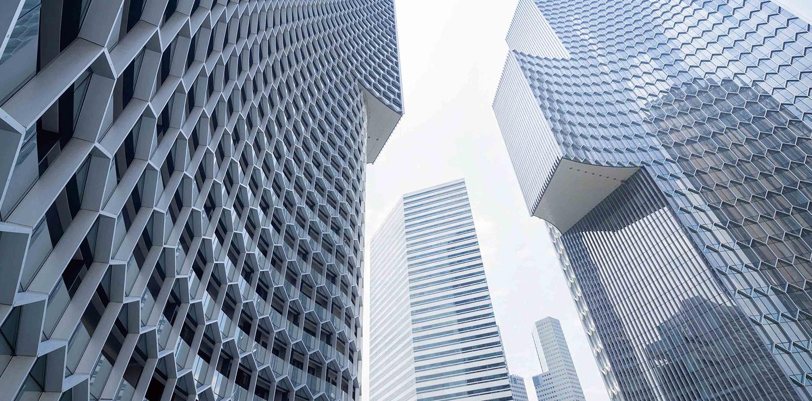 Vue de l'ensemble DUO réalisé par Ole Scheeren à Singapour. Photo par Iwan Baan