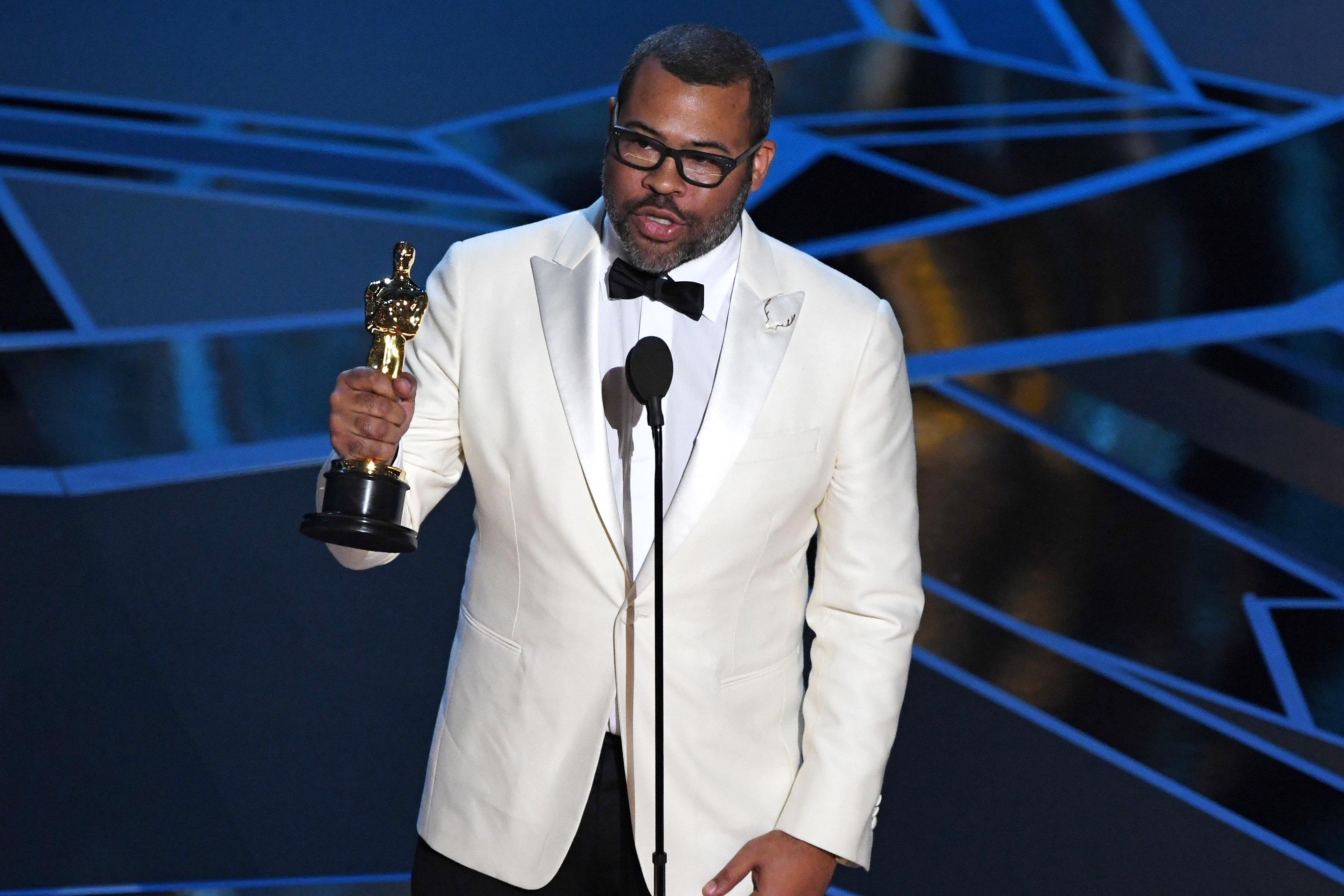 Jordan Peele remporte l'Oscar du meilleur scénario original en 2018.  AFP / Getty Images.