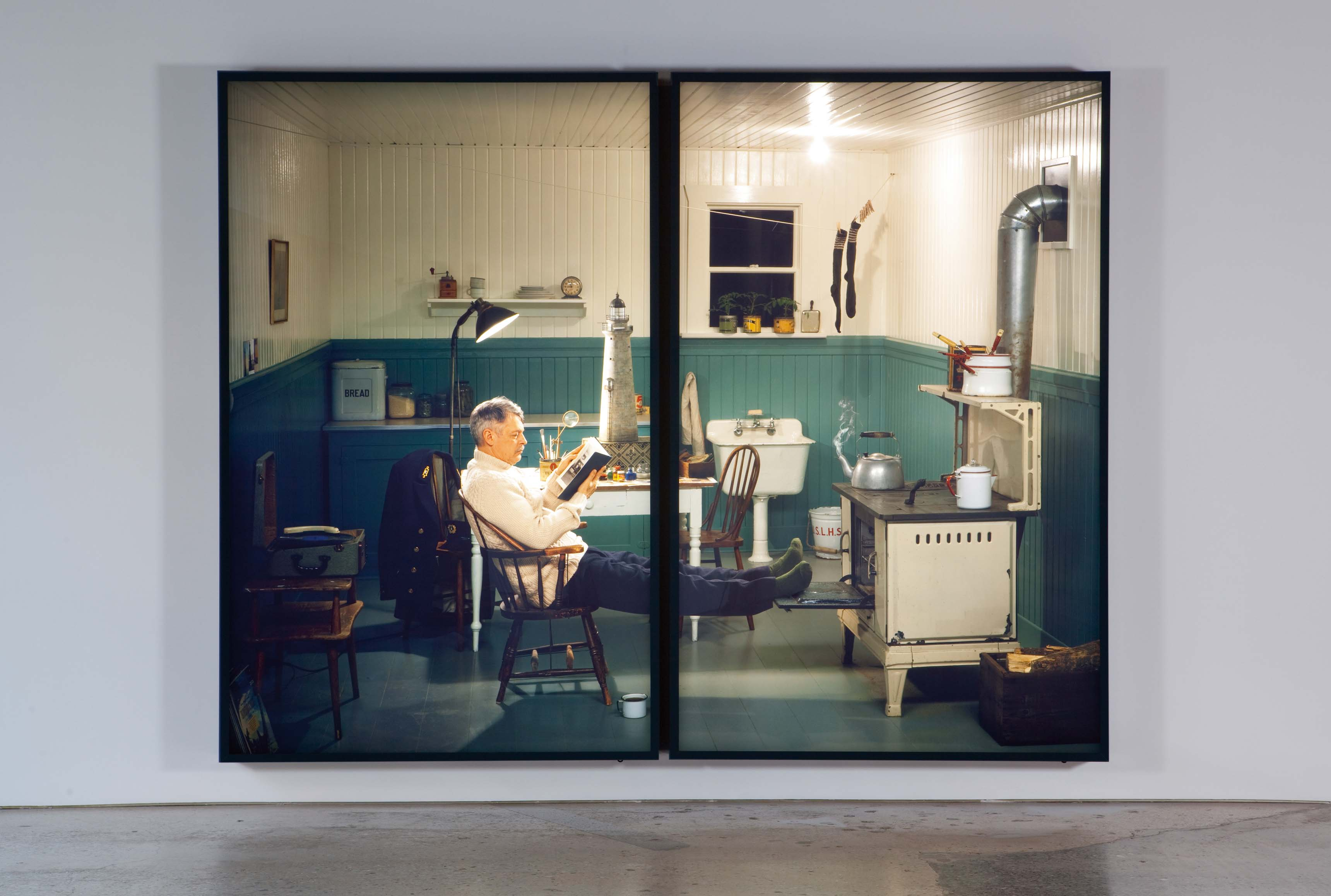 Rodney Graham, Lighthouse Keeper with Lighthouse Model, 1955. 2010.