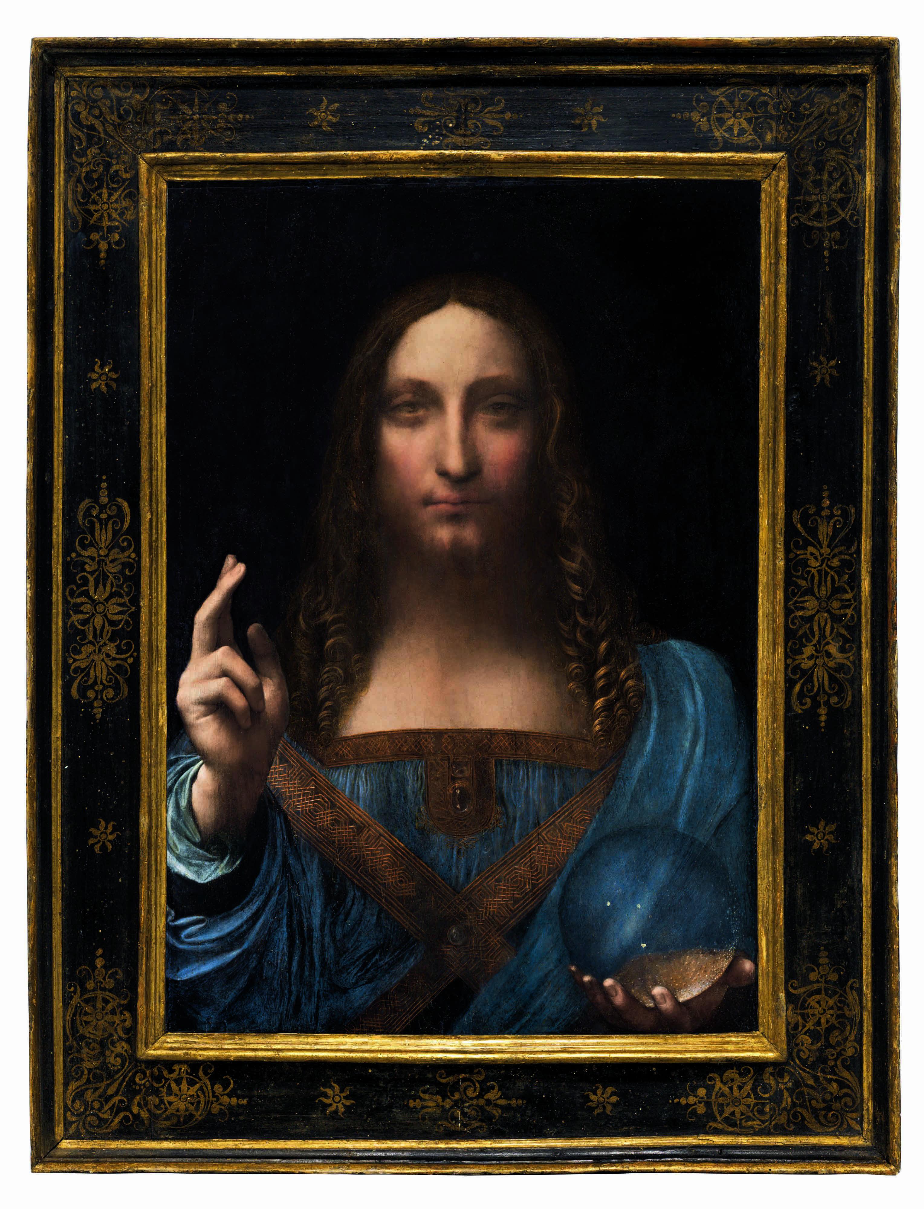 SALVATOR MUNDI (VERS 1500), DE LEONARD DE VINCI. HUILE SUR PANNEAU, 65,7 X 45,7 CM. ADJUGÉ 450,3 MILLIONS DE DOLLARS.