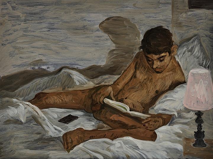 """""""The Reader"""" (2018). Salman Toor. Huile sur panneau, 23 x 30 cm."""