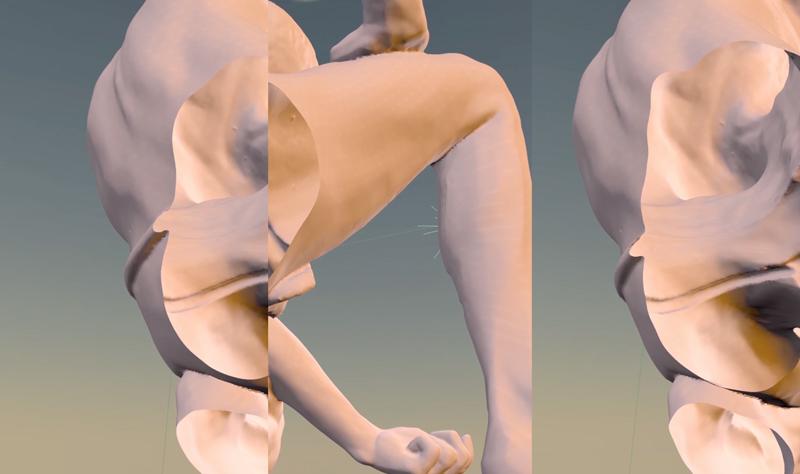 """Salomé Chatriot, """"Nymphose"""" (2019) en collaboration avec Filip-Andreas Skrapic. Extrait du triptyque vidéo. 300 x 100 x 10 cm. Galerie Charraudeau, Paris"""