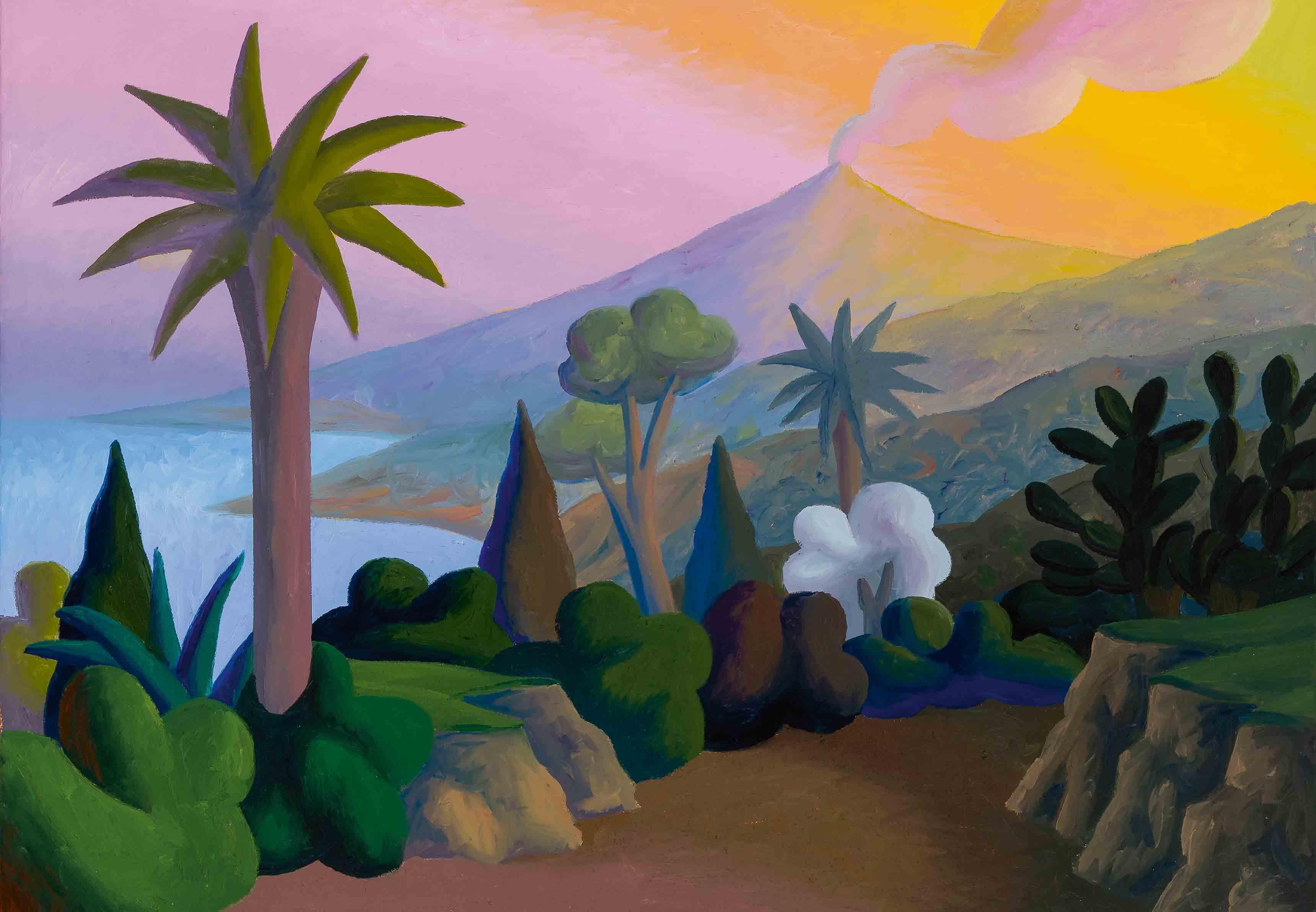 """L'Etna Da Taormina"" (1999), de Salvo, huile sur toile, 70 x 100cm. Collection privée."