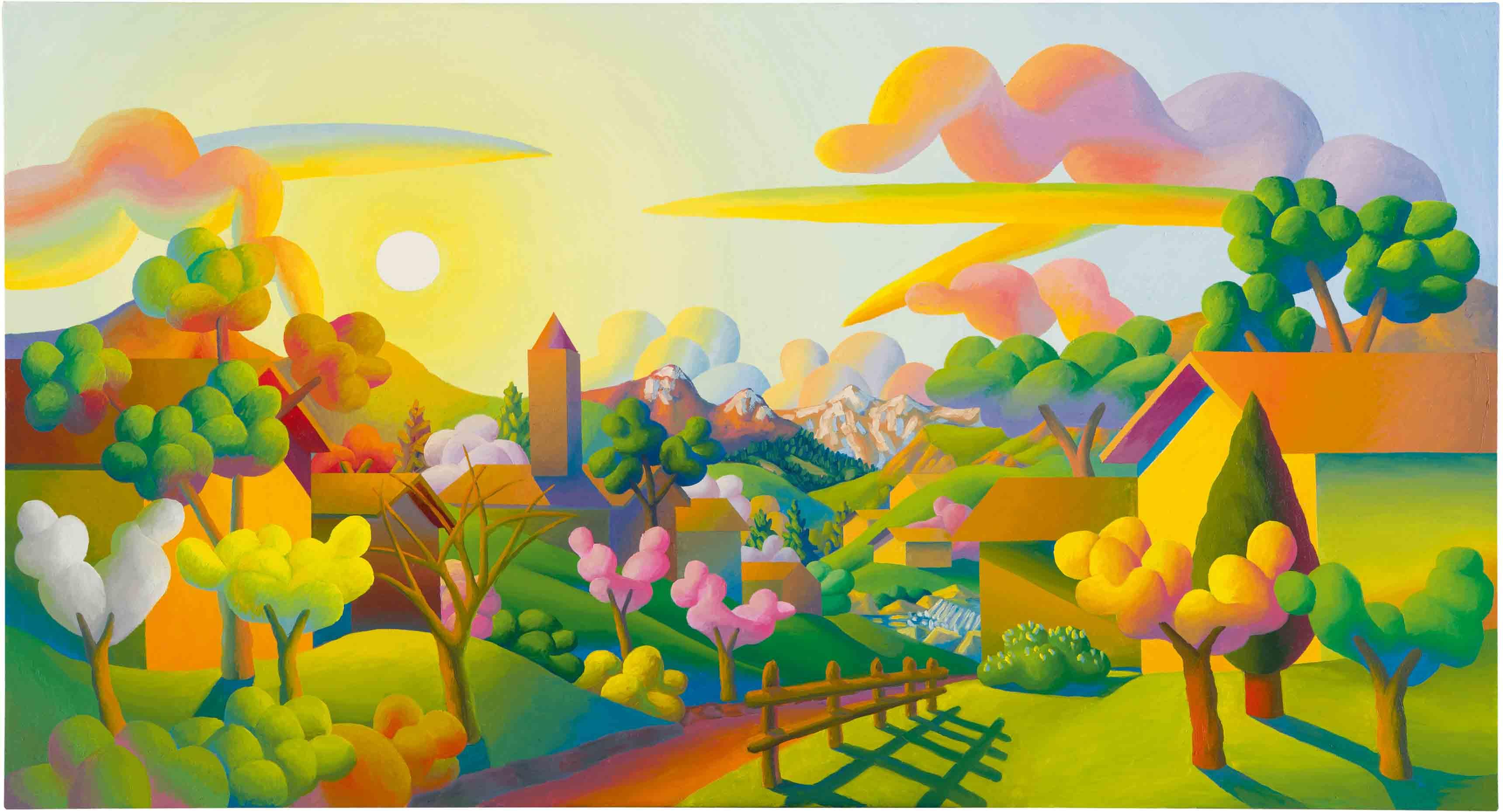 """Di Primavera"" (2014), de Salvo, huile sur toile, 120 x 220 cm. Collection privée."