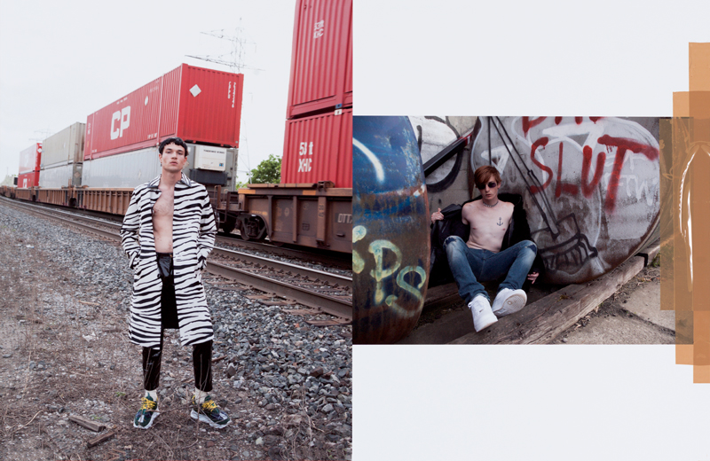 Left: printed foal leather coat, vinyl trousers and sneakers, Versace. Socks, Falke. Right: fake fur and leather coat, Givenchy. Denim jeans, Dsquared2. Sunglasses, Cartier. Necklace, Maison Margiela. Sneakers, Nike.