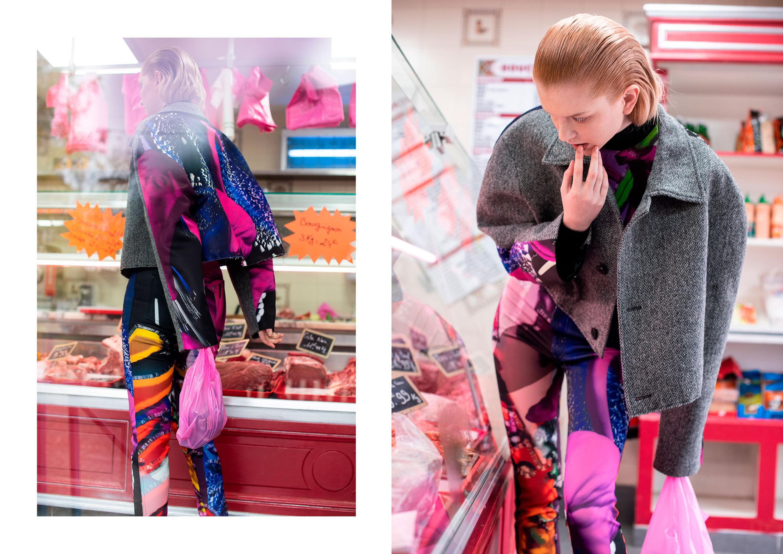 Veste en laine, body en coton et pantalon en Néoprène, MAISON MARGIELA.