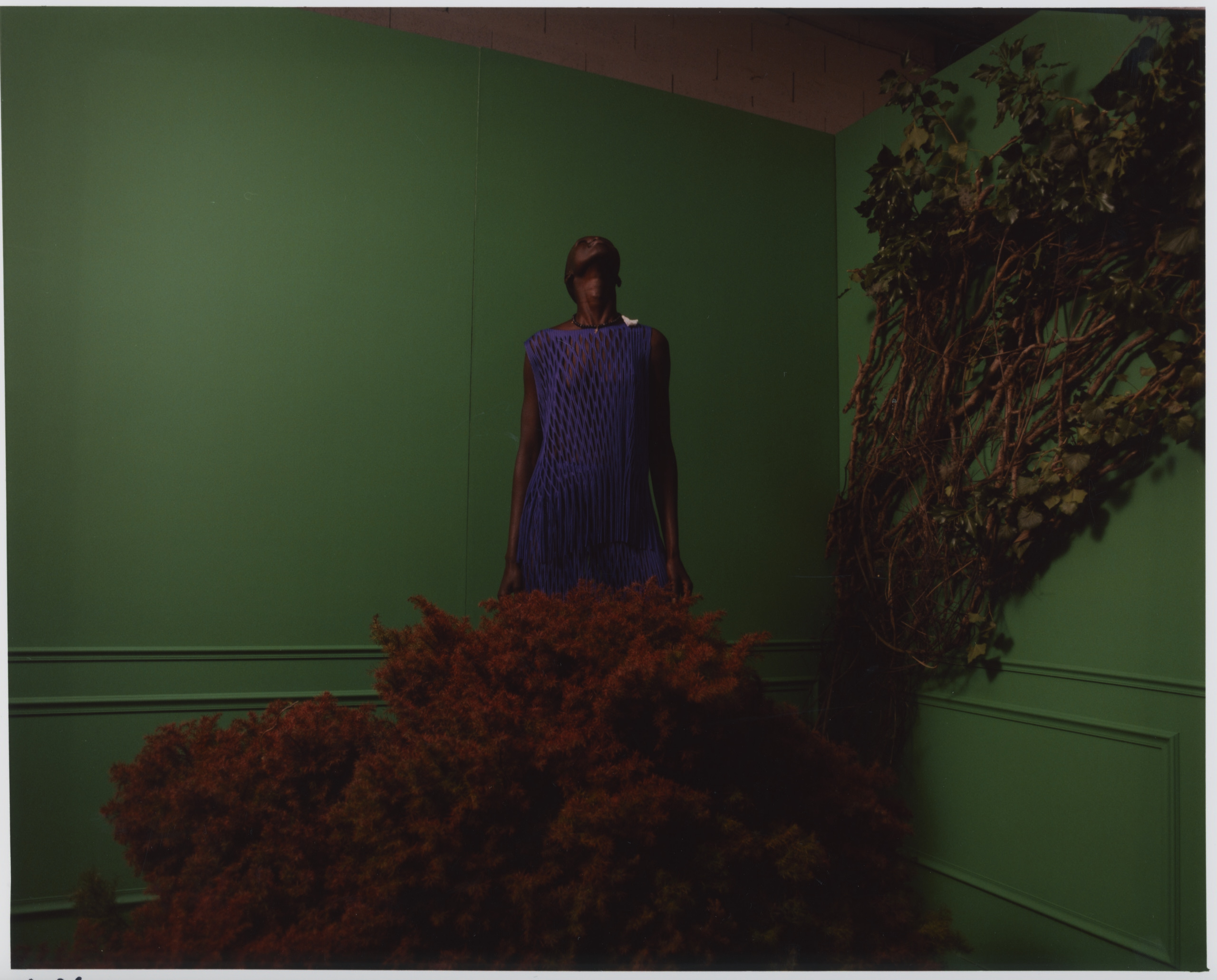 Haut et jupe en mesh, ISSEY MIYAKE. Collier, DIOR.