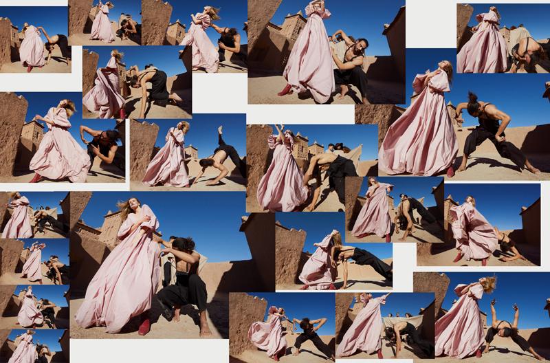Her: taffeta long dress, THE ROW. Shoes, SALVATORE FERRAGAMO. Him: woolen trousers and suspenders, YOHJI YAMAMOTO.