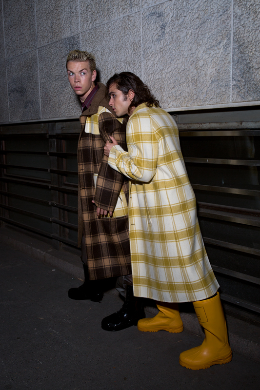 Left: tartan hooded coat, silk striped shirt and PVC pants, Fendi. Boots, Raf Simons. Right: tartan coat, Fendi. Boots, Undercover.