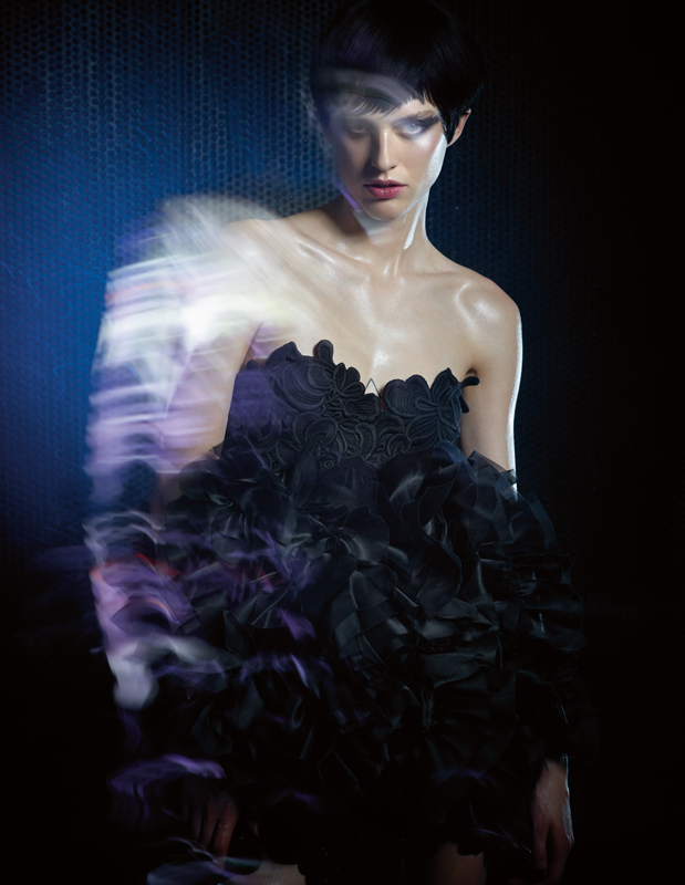 Mixed silk strapless dress with macramé applications, ERMANNO SCERVINO.