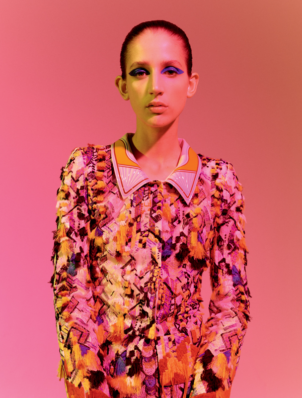 Kupka style tailor: embroidered organza jacket and embroidered jacquard skirt, FENDI COUTURE.