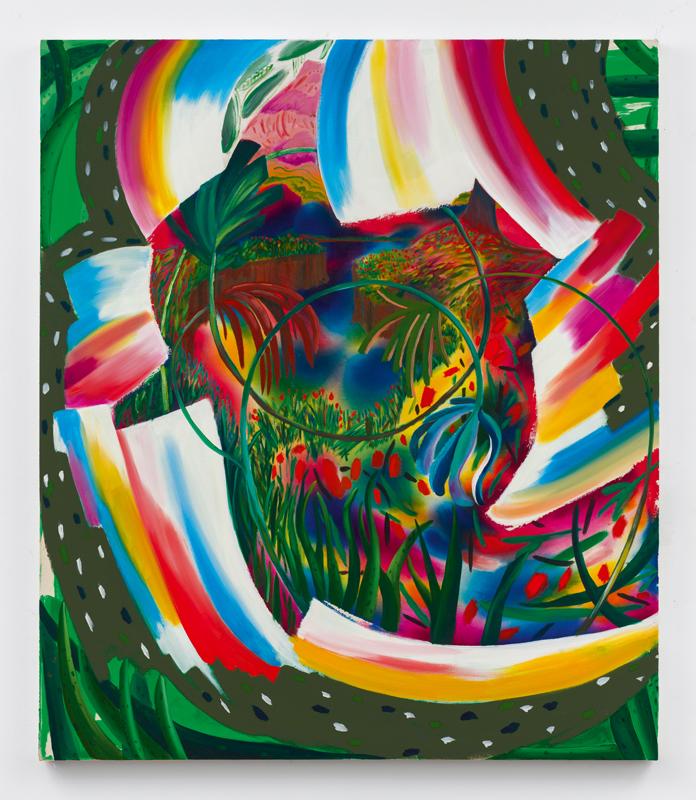 """Managing the Spins"" (2018) de Shara Hughes. Huile, acrylique et teinture sur toile, 147,5 x 126,5 cm. Courtesy of the artist and Galerie Eva Presenhuber, Zurich/New York."