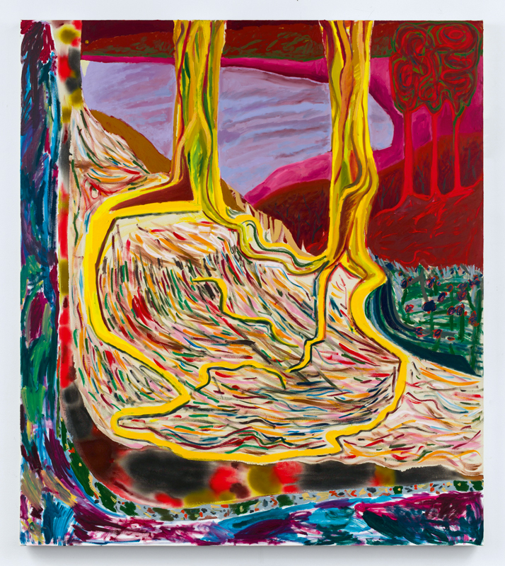"""Soil Mates"" (2018) de Shara Hughes. Huile, acrylique et teinture sur toile, 173 x 152 cm. Courtesy of the artist and Galerie Eva Presenhuber, Zurich/New York."