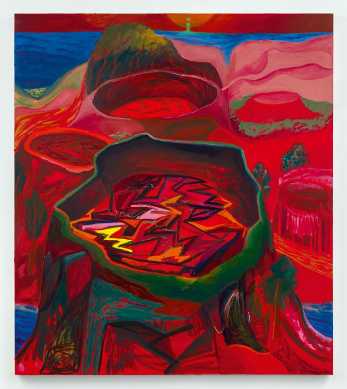 """Good at Compartmentalizing""  (2018) de Shara Hughes. Huile et acrylique sur toile, 172,5 x 152 cm. Courtesy of the artist and Galerie Eva Presenhuber, Zurich/New York."