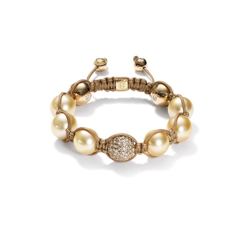 Bracelet pavé de diamants bruns, perles jaunes de la mer du sud et tresses sos, SHAMBALLA.