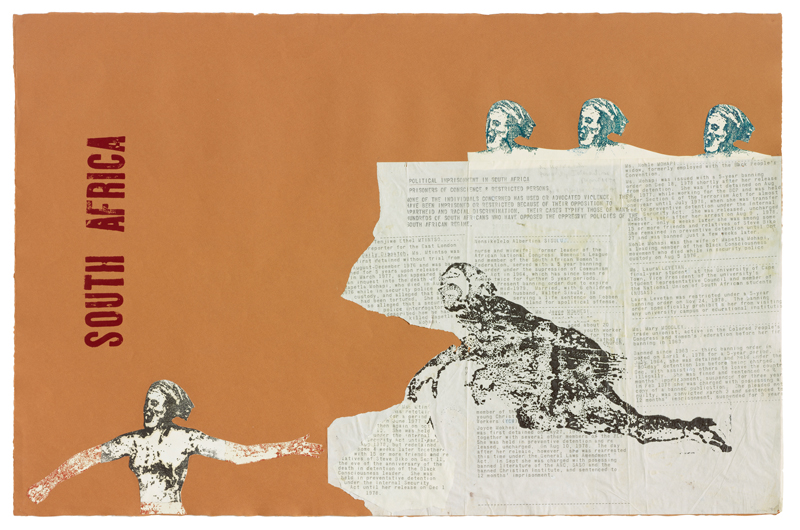 """South Africa"", Nancy Spero, 1981 © The Nancy Spero and Leon Golub Foundation for the Arts/Licensed by VAGA, New York, NY. Courtesy Galerie Lelong & Co."