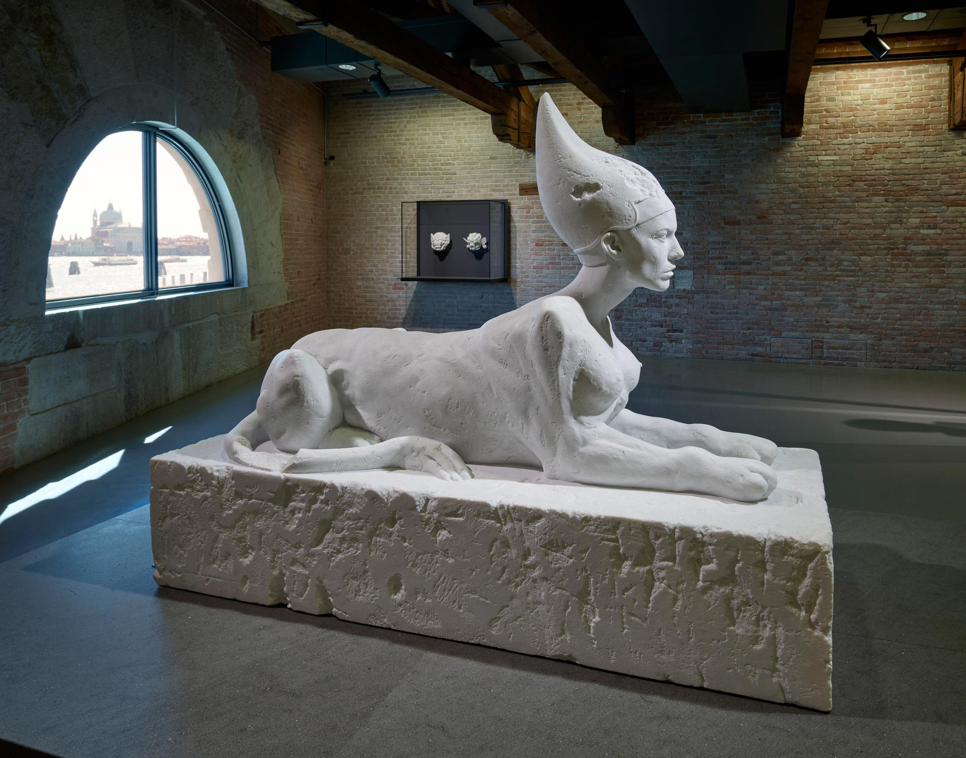 Room 4: (left to right) Damien Hirst, Pair of Masks (left), Sphinx (right). Photographed by Prudence Cuming Associates © Damien Hirst and Science Ltd. All rights reserved, DACS/SIAE 2017