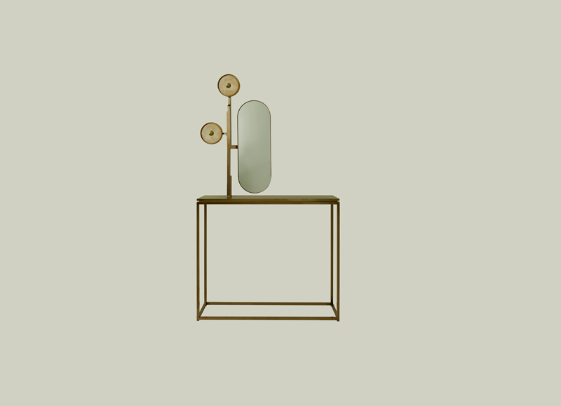 Jinshi Pink Jade Console (2017) de Studio MVW. Console en jade rose, laiton anodisé, acier inoxydable, miroir et LED. Édition limitée à 8 exemplaires. Galerie BSL, www.galeriebsl.com