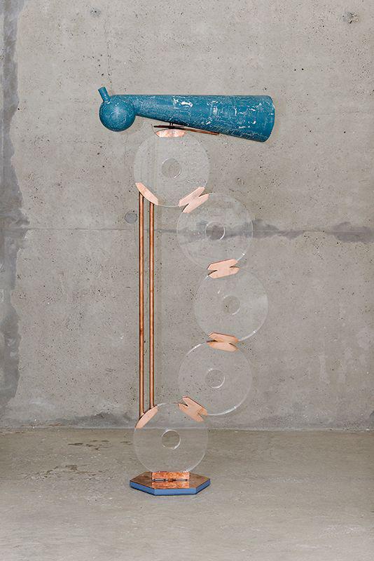 Than Hussein Clark Troubles of Don Fabrizio (/Bal d'Orient - Telescope Prototype) 2017, cuivre, peinture acrylique, plexiglas, bois, 169 x 76 x 35 cm courtesy of the artist and Crèvecœur, Paris