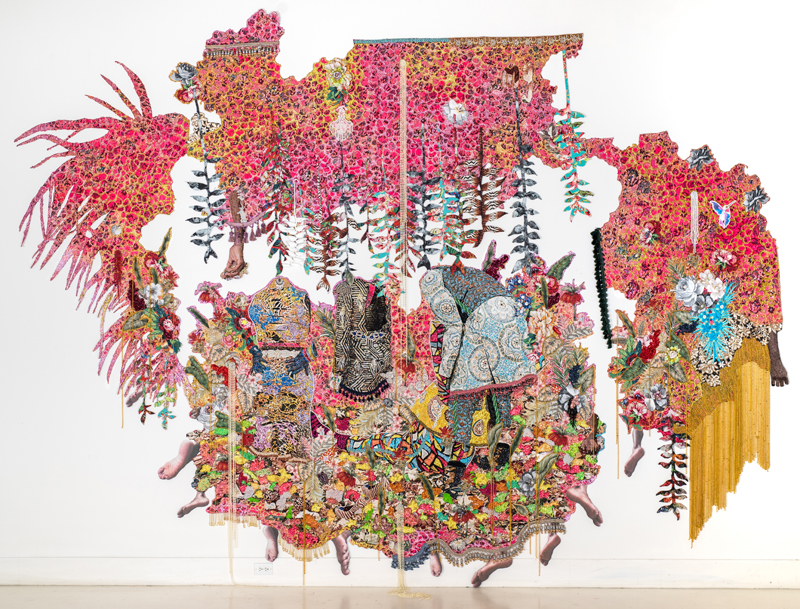 """Ebony G. Patterson. """". . . they stood in a time of unknowing . . . for those who bear/bare witness"""", 2018. Hand cut jacquard photo tapestry with glitter, appliques, pins, embellishments, fabric, tassels, brooches, acrylic, glass, pearls, beads, hand cast heliconias, and artist-designed fabric wallpaper (not pictured). Courtesy the artist and Monique Meloche Gallery, Chicago."""