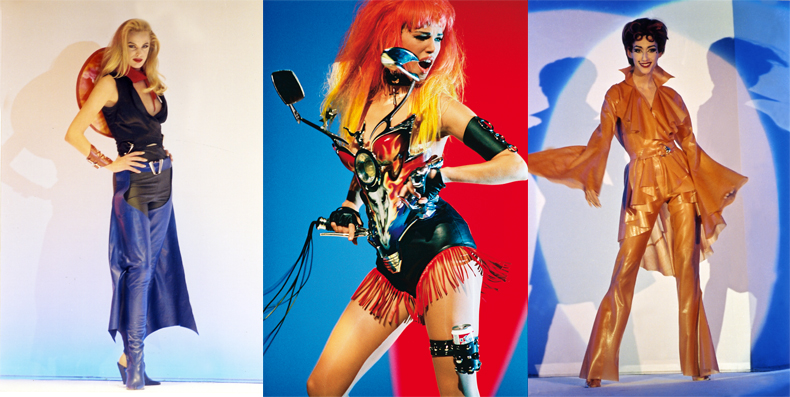 "Right and left: Thierry Mugler, Spring-Summer 1992 ready-to-wear collection. Middle: Patrice Stable, Emma Sjöberg while shooting the music video for George Michael's ""Too Funky"", Paris, 1992, directed by George Michael and Thierry Mugler. Outfit: Thierry Mugler, ""Les Cow-boys"" collection, Spring-Summer 1992 ready-to-wear collection. Photos: © Patrice Stable."