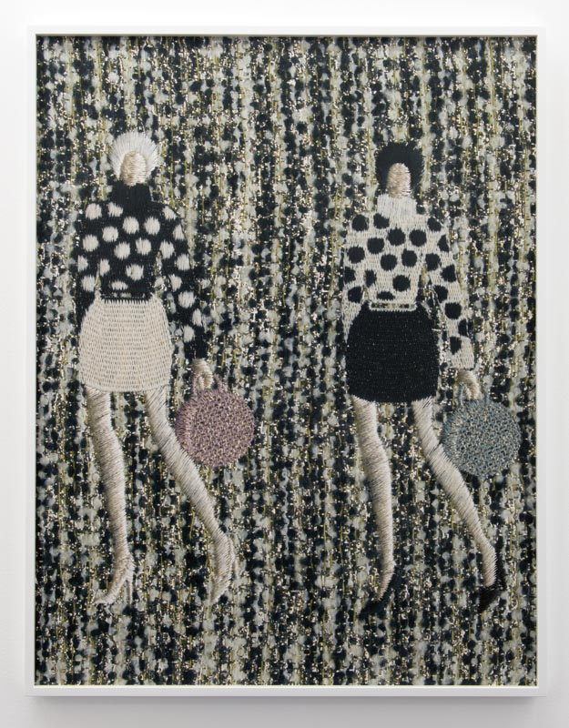 "Tobias Kaspar, ""Two Women in Polka-Dotted Jumpers and Miniskirts (beige, black, golden stripped background),"" 2019."