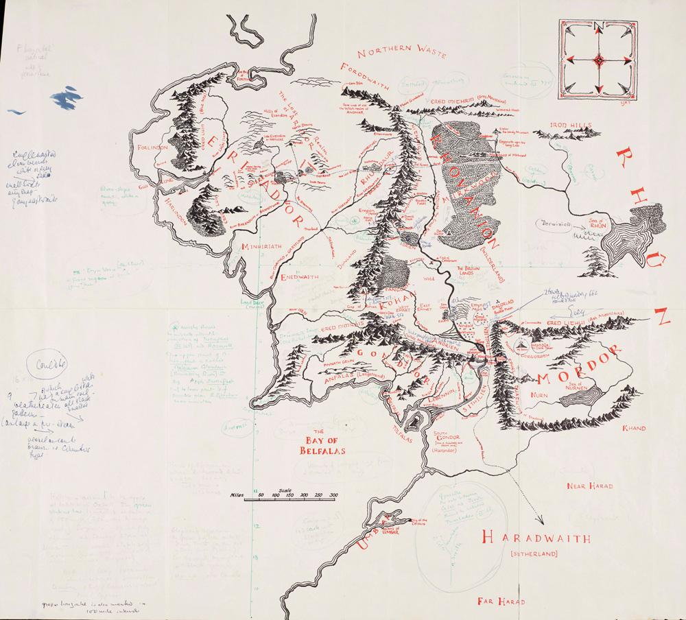Carte imprimée de La Terre du Milieu, annotée par J. R. R. Tolkien et Pauline Baynes (1969).