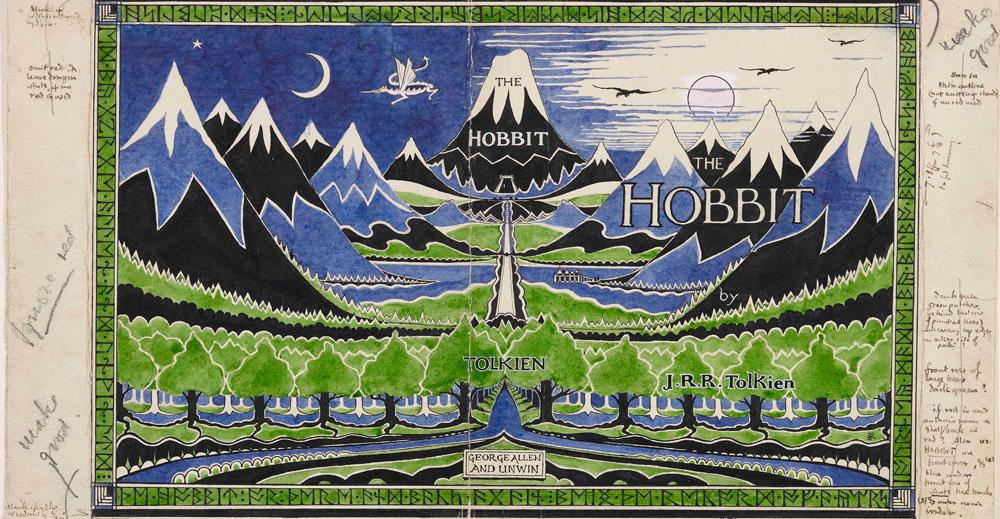 """Maquette de la jaquette pour """"Le Hobbit"""" (1937)."""