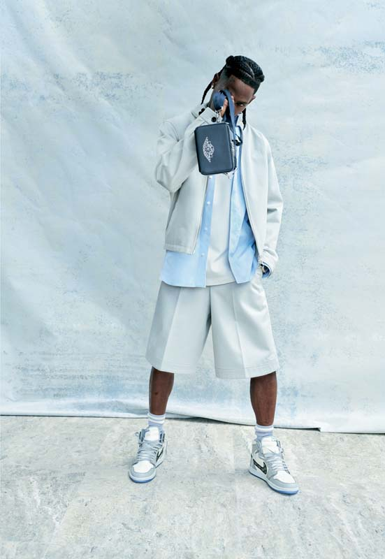 "Cotton drill jacket, shirt, jersey T-shirt, cotton drill Bermuda shorts, ""Air Jordan 1 High OG Dior"" socks and sneakers and printed full grain leather zip-up clutch bag, Capsule Air Dior, Dior Men."