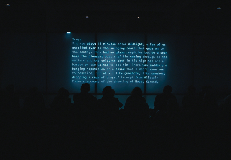 "Lawrence Abu Hamdan, documentation of live performance ""After SFX, 2018"". A 30-minute live performance at Tate Modern, London, October 2018. Courtesy the artist. Photo by Jarred Alterman."