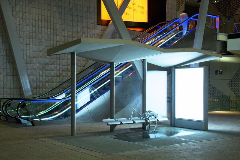 """Bus Stop"" (2017), vue de l'installation permanente au Paradise Plaza, Miami Design District, Miami."
