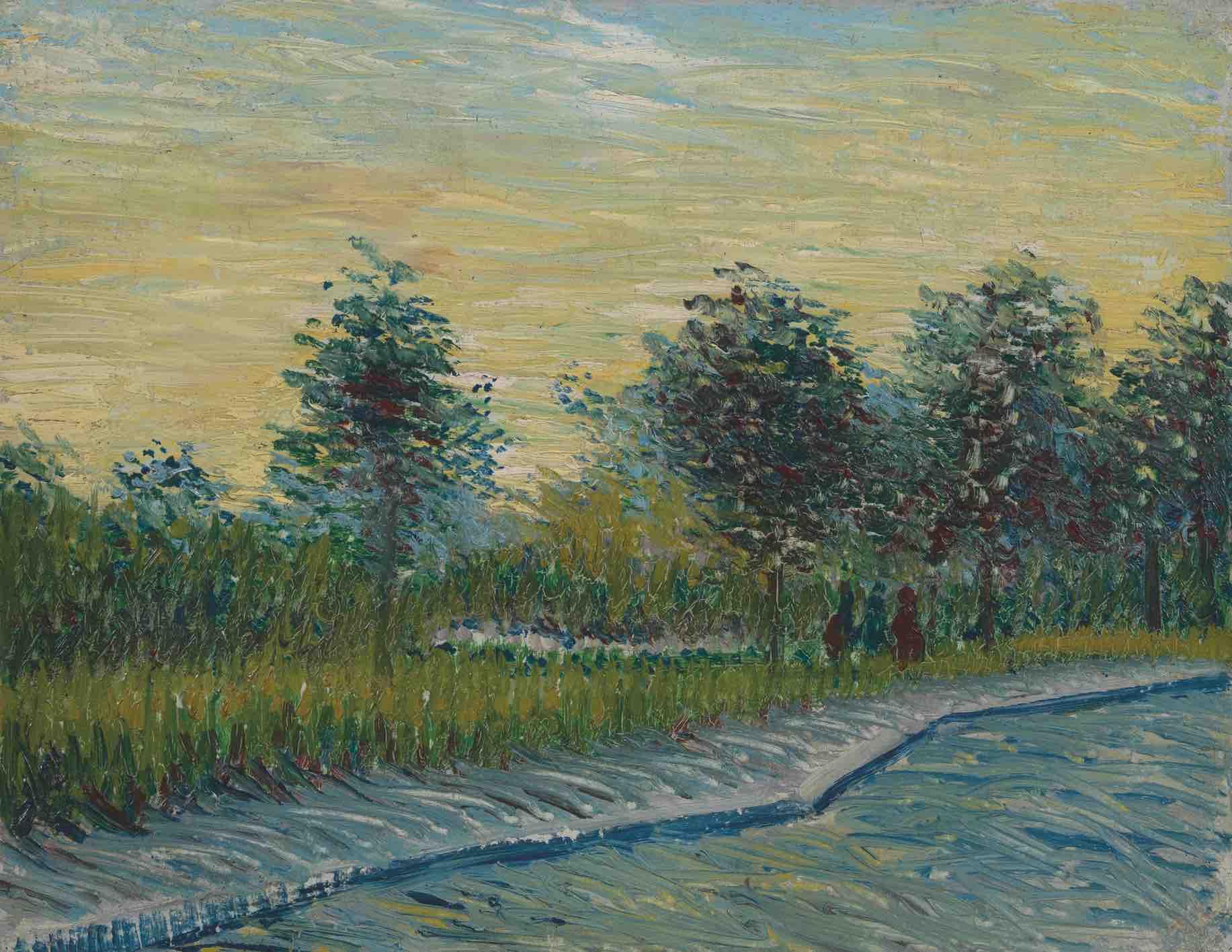 Vincent van Gogh, Square Saint-Pierre au coucher du soleil, Paris, mai 1887. Huile sur carton, 33 x 42 cm. Van Gogh Museum, Amsterdam (Vincent van Gogh Foundation).