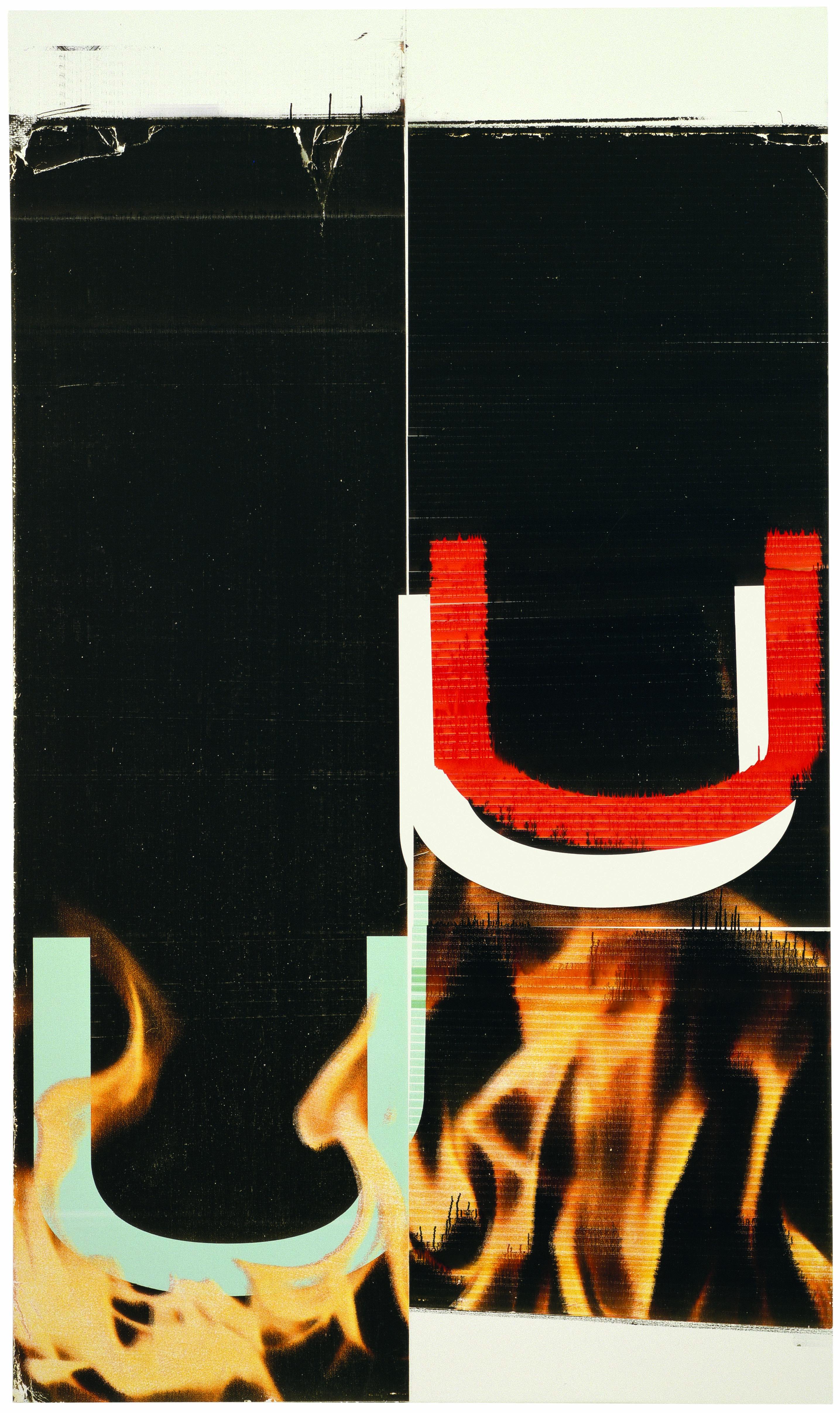 """Wade Guyton, """"Sans titre"""" (2006). Impression jet d'encre sur lin, 228,6 x 134,6 cm. Photo : Larry Lamay."""