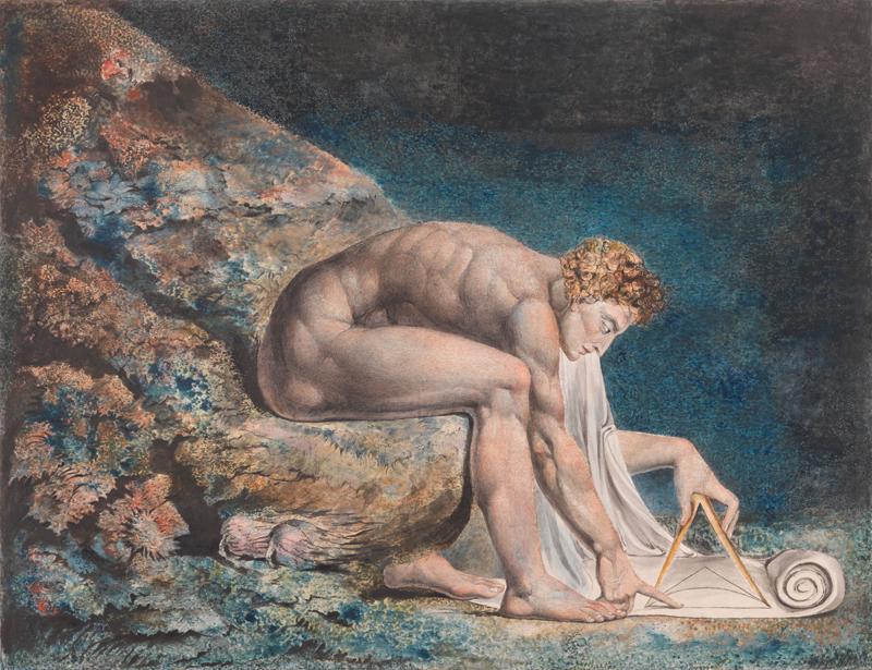 """William Blake, """"Newton"""" (1795-c. 1805). Impression colorée, encre et aquarelle sur papier, 460 x 600 mm. Tate"""