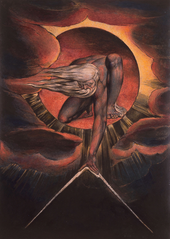 "William Blake, ""Europe' Plate i: Frontispiece"" dans ""The Ancient of Days"" (1827). Gravure avec encre et aquarelle sur papier, 232 x 120 mm. The Whitworth, The University of Manchester"