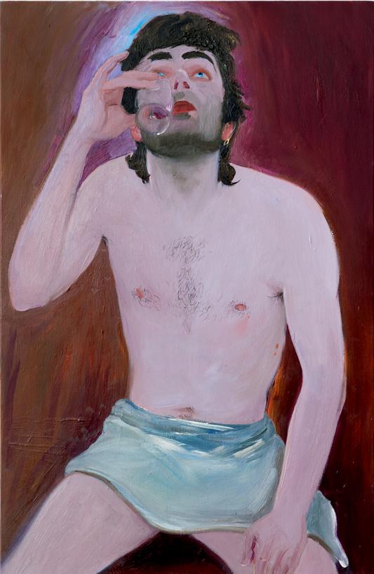 """Xinyi Cheng, """"Clement"""" (2019). Huile sur toile, 92 x 60 x 2.5 cm © Galerie Balice Hertling, Paris. Image © Aurélien Mole."""