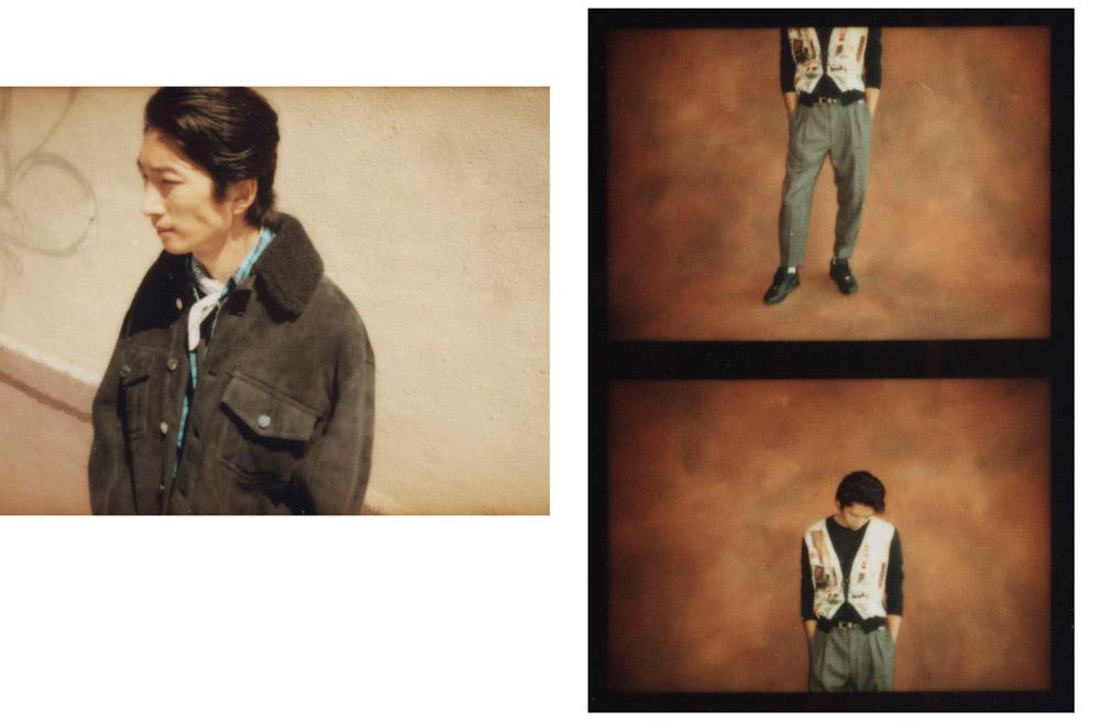 Blouson en veau velours et peau lainée, LES HOMMES. Chemise en flanelle, ACNE STUDIOS. Bandana personnel.  À droite : cardigan en laine et soie imprimée, LANVIN. Tee-shirt en jersey de coton, UNIQLO. Pantalon en laine prince-de-galles, PT Torino. Ceinture, SAINT LAURENT PAR ANTHONY VACARELLO. Chaussettes, CHAMPION. Baskets, NIKE.