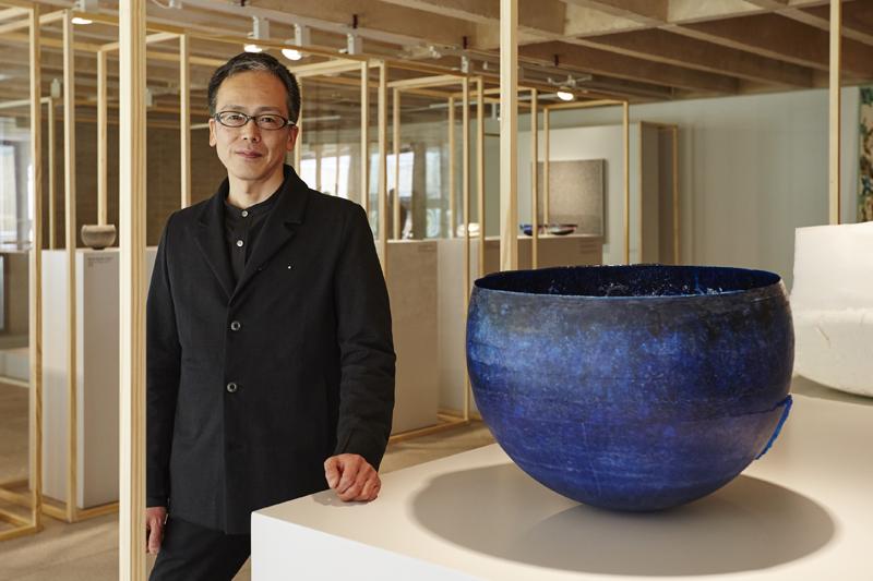 "Yoshiaki Kojiro, Japan. ""Structural Blue"", 2015. Glass powder and copper oxide powder."