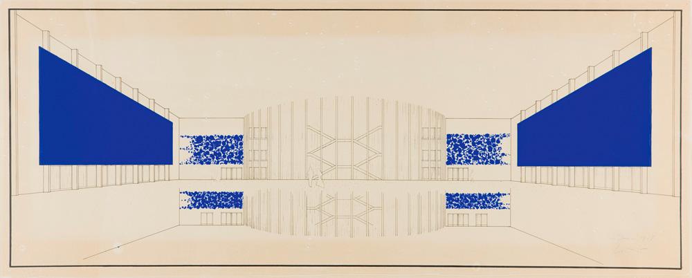 """Yves Klein, """"Dessin de perpective pour l'Opéra-Théâtre de Gelsenkirchen"""" (1958). © Succession Yves Klein c/o ADAGP, Paris"""