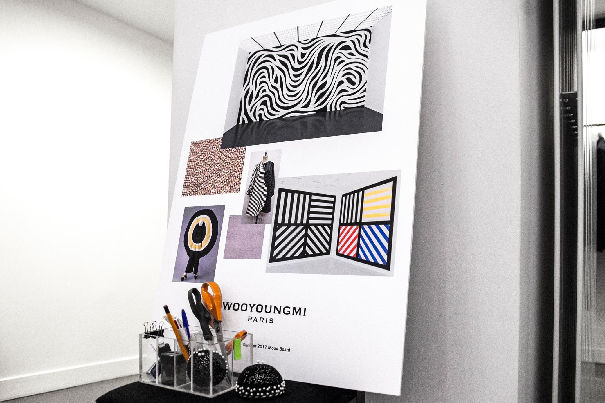 Le moodboard de la collection printemps-été 2017dans le showroom parisien de Wooyoungmi. Photo : Mehdi Mendas