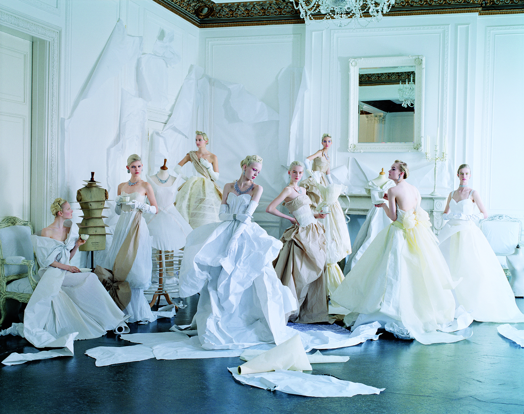 Tim Walker. Maja Salamon, Ola Rudnicka, Codie Young, Esmerelda Seay- Reynolds, Nastya Sten, Sasha Luss, Alexandra Kivimäki, and Alice Cornish in paper dresses and jewelry created by Rhea Thierstein; hair, Julien d'Ys; makeup, Lucia Pieroni; production design, Rhea Thierstein; London, May 2014. Courtesy The Condé Nast Publications (pages 336-7)