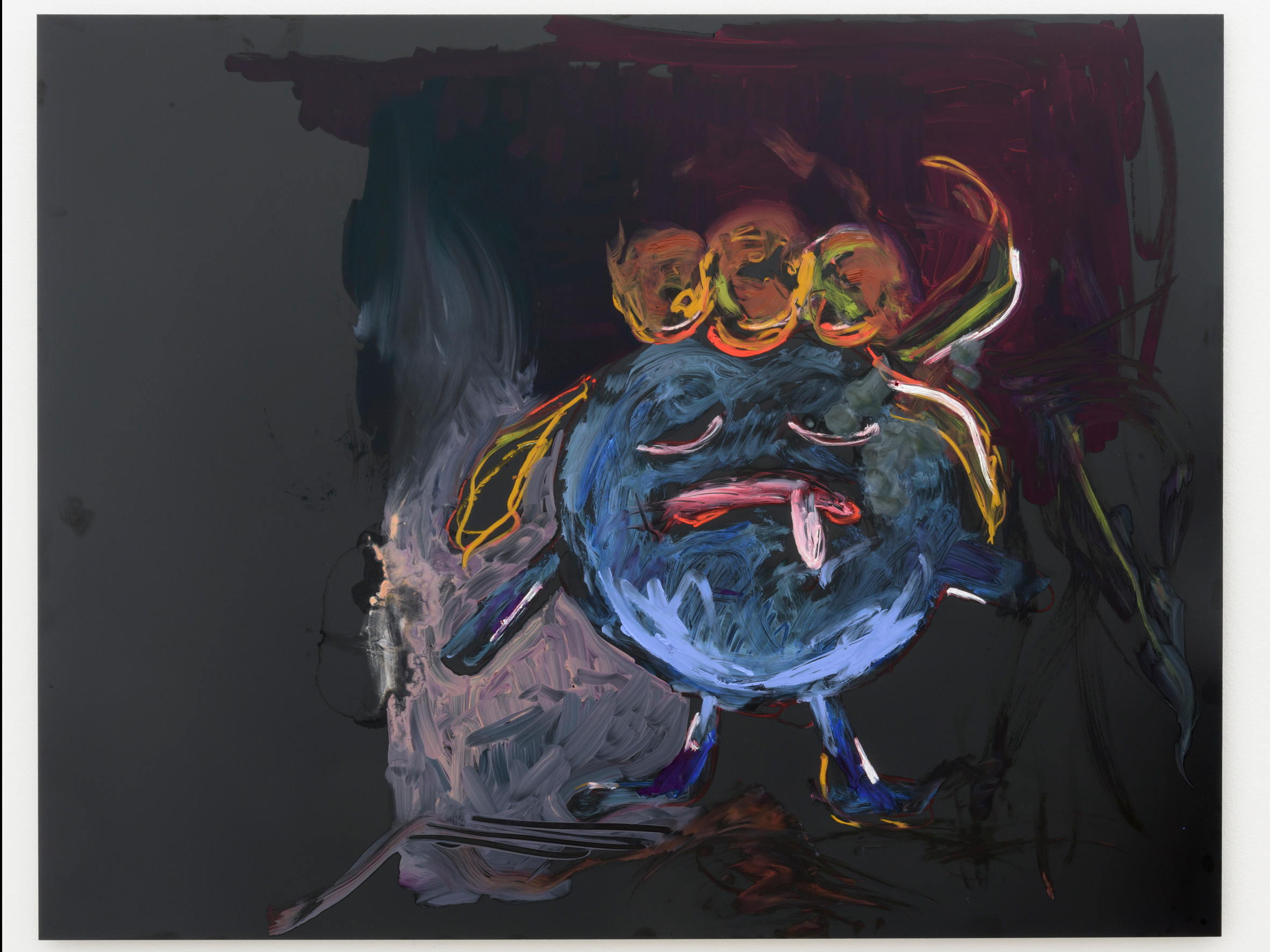 """Reena Spaulings,Gloom(2016).Oil painting onDibond.100 x 130 cm. Courtesy of the artist and Galerie Chantal Crousel, Paris PhotoFlorian Kleinefenn  At the Chantal Crousel Gallery, there's no need for an iPhone or augmented reality to go Pokémon hunting: the Nintendo creatures are painted and hanging on the walls. These oils on Dibond (aluminium and polyethylene) are by Reena Spaulings. A fictional character conceived by the artistic collective Bernadette Corporation, Reena Spaulings signs tangible works. She even gave her name to a New York gallery in 2004 (Reena Spaulings Fine Arts). She embodies above all an era where the virtual and the fictional (and its characters) often count more than reality. So it's no surprise the artist is interested in her fellow imaginary beings, Pokémon, the creatures that pop up on streets all over the world.   What ifartists picked up their subjects depending on Twitter """"trend topics"""" ?"""