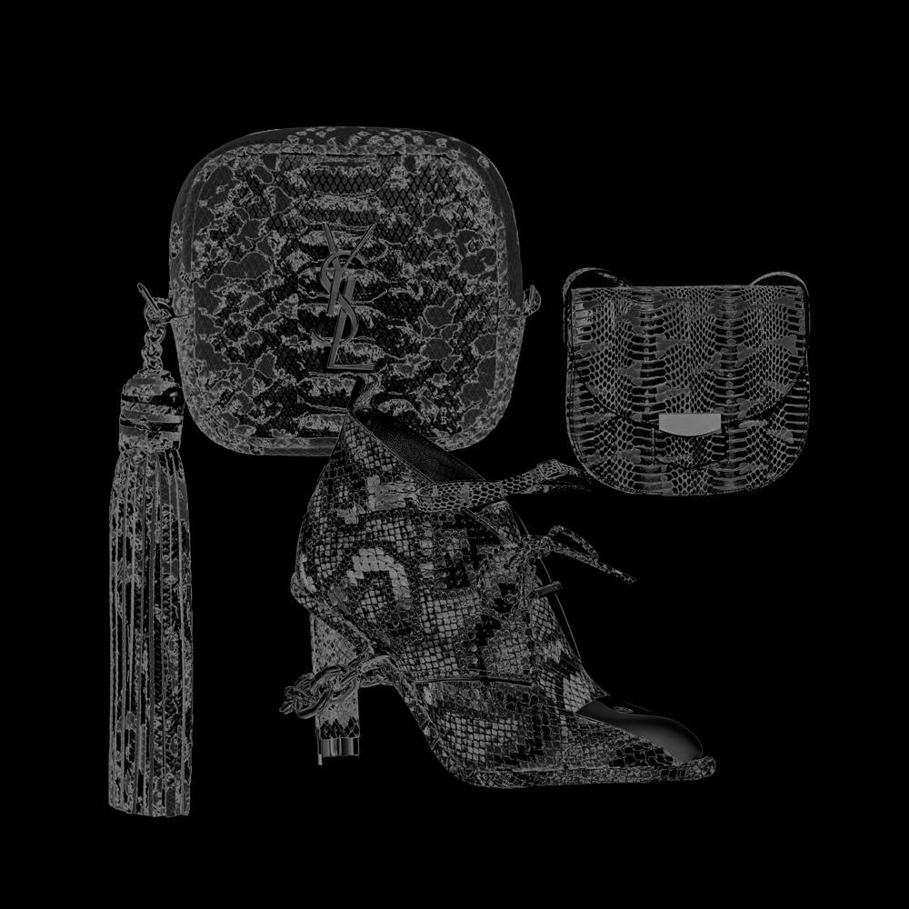 Les accessoires en python d'Yves Saint Laurent, Louis Vuitton et Céline
